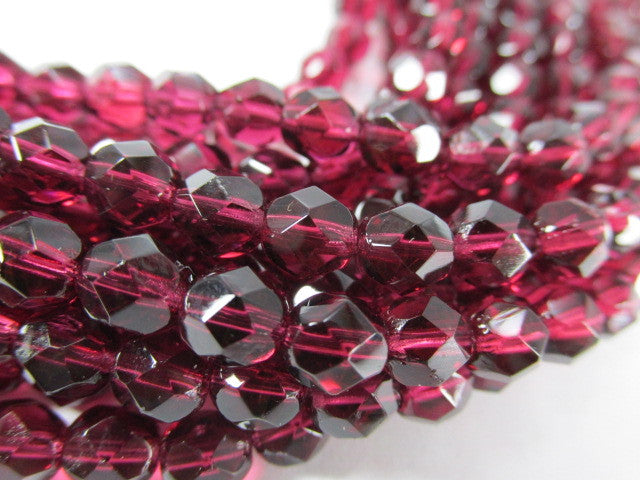 Fuchsia Czech Glass 6mm Faceted Fire Polished Jewelry Beads (25) - Odyssey Cache