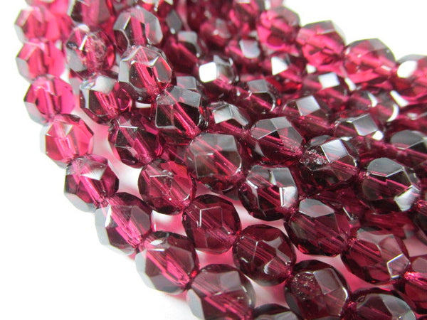 Fuchsia Czech Glass 6mm Faceted Fire Polished Jewelry Beads (25)-Czech Glass-Odyssey Cache
