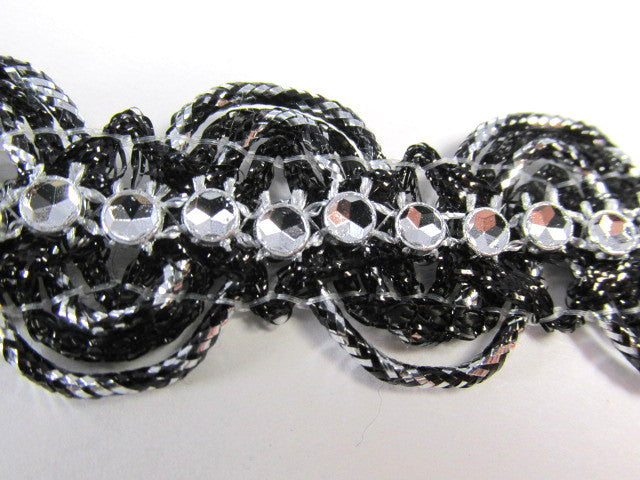 Metallic Trim with Faux Rhinestone Centers in Black or Turquoise-Trims-Black Silver-Odyssey Cache