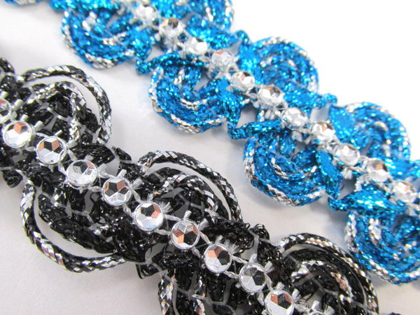 Metallic Trim with Faux Rhinestone Centers in Black or Turquoise-Trims-Odyssey Cache