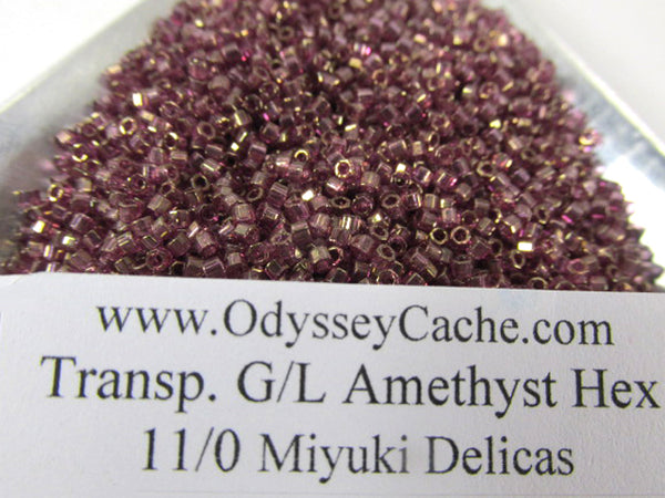 Transparent Gold Lined Amethyst Hex Cut Miyuki Delica 11.0 Beads (8 grams) - Odyssey Cache