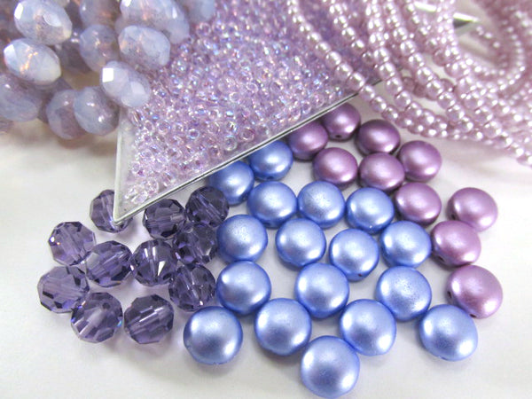 Periwinkle French Blue Pastel Pearl 2 Hole 8mm Cabochon Candy Beads (20) - Odyssey Cache