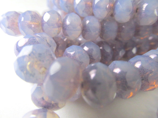Light Purple Opal Czech Glass 8mm x 6mm Rondelle Jewelry Beads (12) - Odyssey Cache