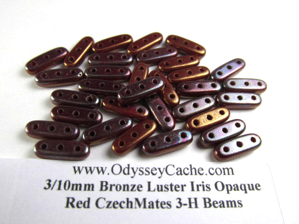 Bronze Luster Iris Czech Glass 10x3mm Three Hole CzechMates Beams (42 beads)-Jewelry Beads-Odyssey Cache