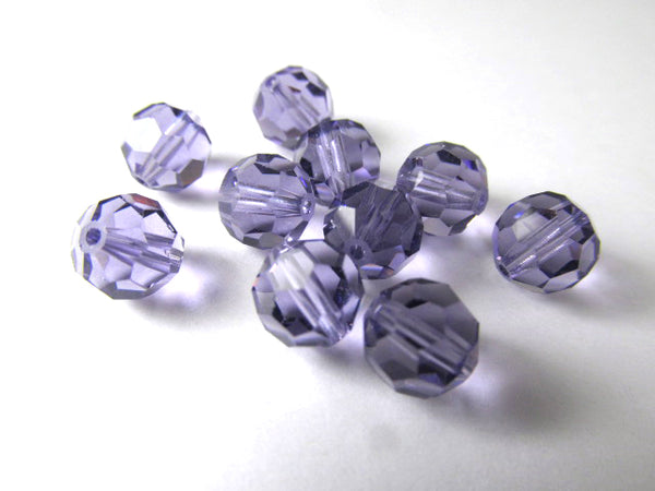 Purple Tanzanite 7mm Swarovski Style 50000 Round 7mm Jewelry Beads (10)-Jewelry Beads-Odyssey Cache