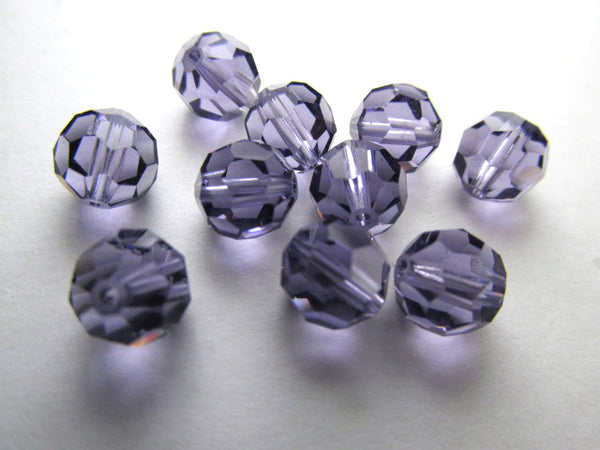 Purple Tanzanite 7mm Swarovski Style 50000 Round 7mm Jewelry Beads (10) - Odyssey Cache