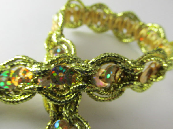 Holographic Sequined Trim with Gold Double Scalloped Border - Odyssey Cache