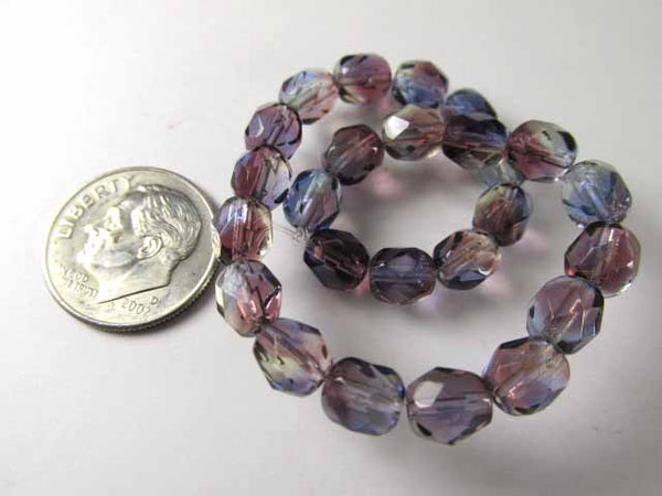 Multicolor Purple Green Blue 6mm Czech Glass Fire Polished Jewelry Beads (25) - Odyssey Cache