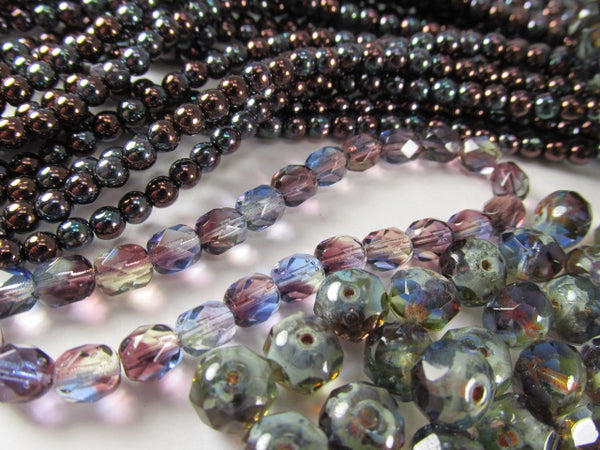 Metallic Amethyst 4mm Czech Glass Round Druk Jewelry Beads (100)-Jewelry Beads-Odyssey Cache