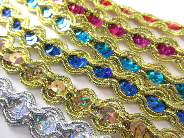 Holographic Sequined Trim with Gold Double Scalloped Border-Trims-Blue-Odyssey Cache
