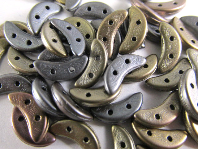Saturated Metallic Leather 10mm x 3mm Crescent Czech Glass 2 Hole Beads (40)-Jewelry Beads-Odyssey Cache