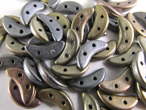 Saturated Metallic Leather 10mm x 3mm Crescent Czech Glass 2 Hole Beads (40) - Odyssey Cache
