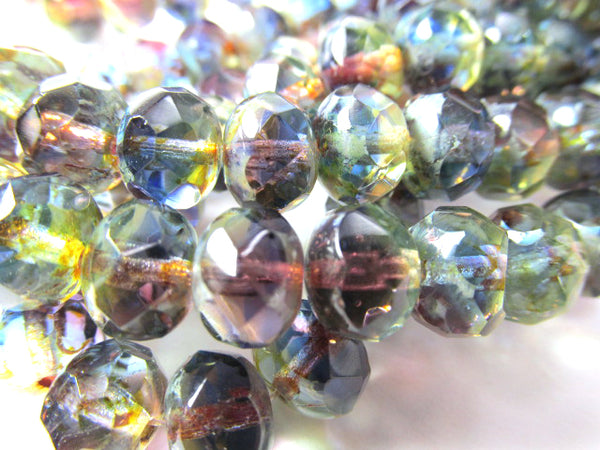 Multicolor Purple, Blue, Olive Green Transparent Czech Glass 8mm x 6mm Rondelles (12) - Odyssey Cache