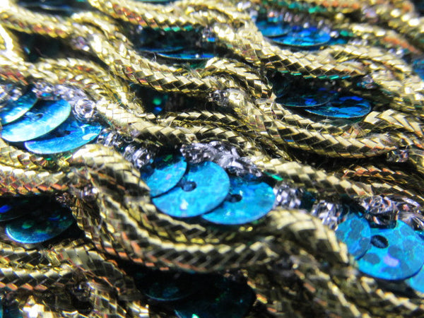 Turquoise Sequined Trim with Gold and Silver Scalloped Edge - On Sale - Odyssey Cache