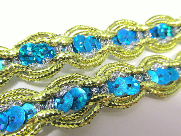 Turquoise Sequined Trim with Gold and Silver Scalloped Edge - On Sale-Trims-Odyssey Cache