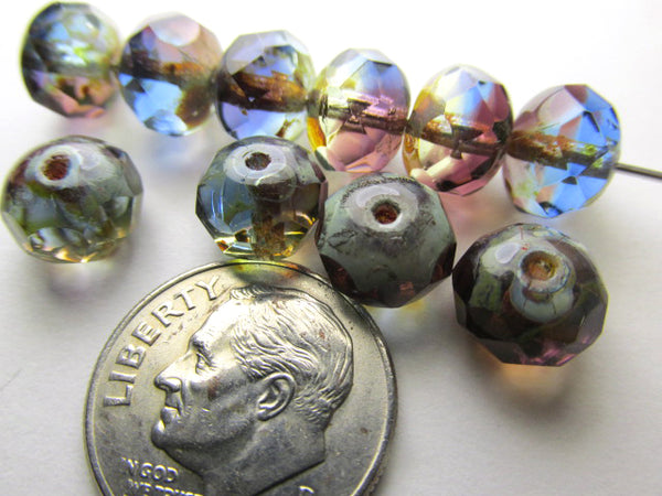 Multicolor Purple, Blue, Olive Green Transparent Czech Glass 8mm x 6mm Rondelles (12)-Jewelry Beads-Odyssey Cache
