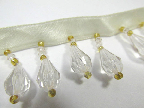 Ivory and Gold Short Alternating 1 Inch Beaded Fringe Trim - Odyssey Cache