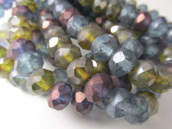 12 Matte Luster 8mm x 6mm Rondelle Jewelry Bead Mix in Purple, Olive Green, and Denim Blue-Jewelry Beads-Odyssey Cache