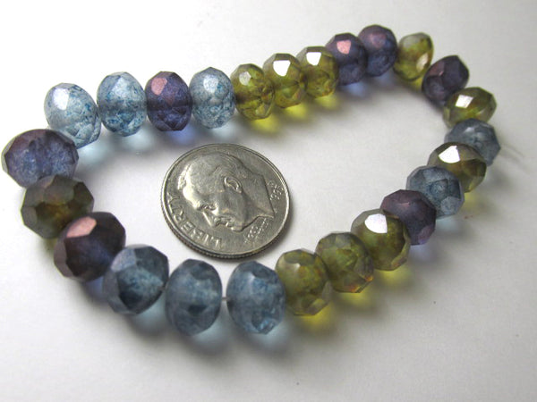 Matte Luster 8mm x 6mm Rondelle Jewelry Bead Mix in Purple, Olive Green, and Denim Blue (12 beads)-Jewelry Beads-Odyssey Cache