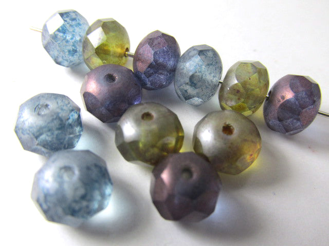 Matte Luster 8mm x 6mm Rondelle Jewelry Bead Mix in Purple, Olive Green, and Denim Blue (12 beads) - Odyssey Cache