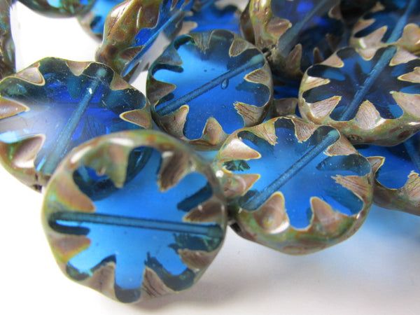 Bright Blue 18mm Daisy 18mm Czech Coin Flower Jewelry Beads with Picasso Finish-Jewelry Beads-Odyssey Cache