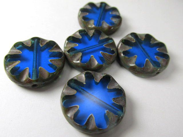 Bright Blue 18mm Daisy 18mm Czech Coin Flower Jewelry Beads with Picasso Finish - Odyssey Cache