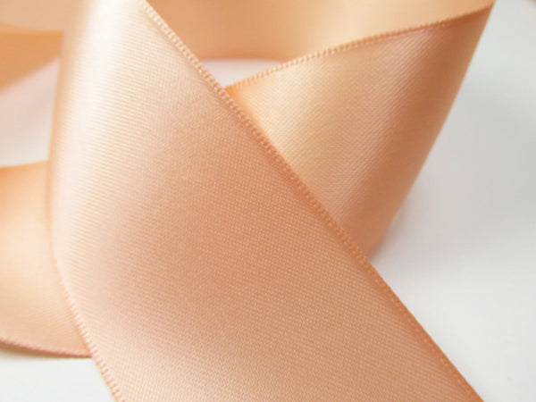Light Peach 1.5 inch wide Polyester Double Sided, Double Faced Bridal Satin Ribbon (5 yards) - Odyssey Cache