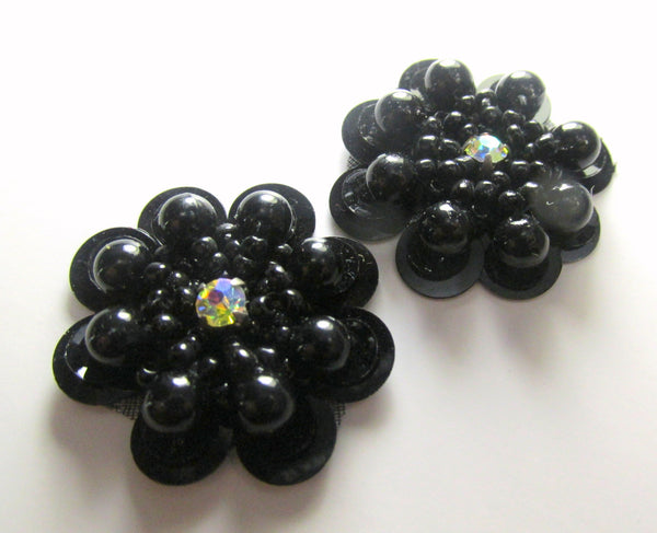 Black Sequined Beaded Flower Appliques (2)-Appliques-Odyssey Cache