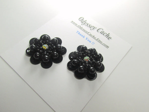 Black or Black Iris Sequined Beaded Flower Appliques (2) - Odyssey Cache - 4
