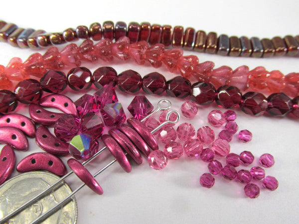 Nebula Opaque Red Czech Glass 2.5 x 5mm SuperDuos (10 grams)-Jewelry Beads-Odyssey Cache