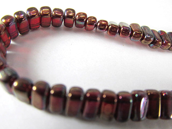 Siam Ruby Bronze Vega Czech Glass 3 x 6mm CzechMates Brick Two-Hole Beads - Odyssey Cache