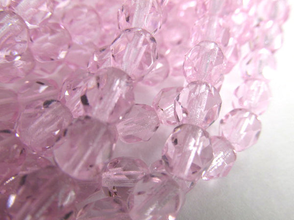 Pale Pink Czech Glass 6mm Faceted Fire Polished Jewelry Beads (25) - Odyssey Cache