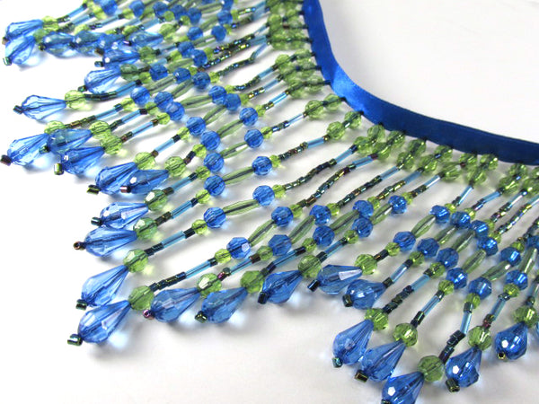 Bright Peacock Royal Blue and Olive Green 5 inch Long Beaded Fringe Decorator Trim-Beaded Fringe-Odyssey Cache
