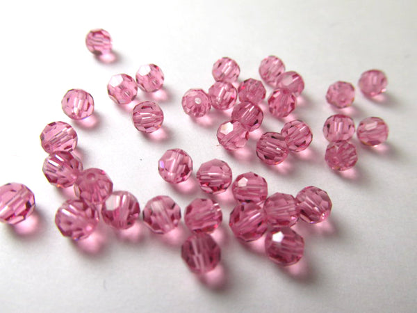 Pink Rose Swarovski Crystal 4mm Faceted #5000 Round Jewelry Beads (20) - Odyssey Cache