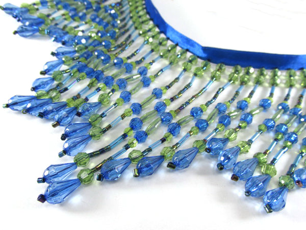 Bright Peacock Royal Blue and Olive Green 5 inch Long Beaded Fringe Decorator Trim - Odyssey Cache