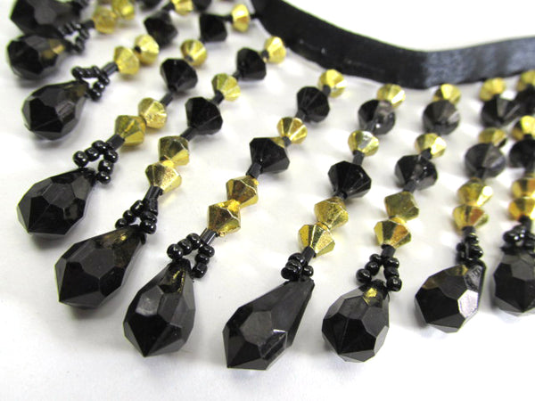 Precut Pieces New York Nights Black and 6mm Gold bicones 3.25 inch Medium Beaded Fringe Trim-Beaded Fringe-Odyssey Cache