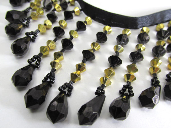 New York Nights Black and 6mm Gold bicones 3.25 inch Medium Beaded Fringe Trim-Beaded Fringe-Odyssey Cache