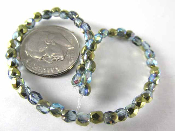 Blue Montana Luster 3mm Czech Glass Fire Polished Jewelry Beads (50)-Jewelry Beads-Odyssey Cache