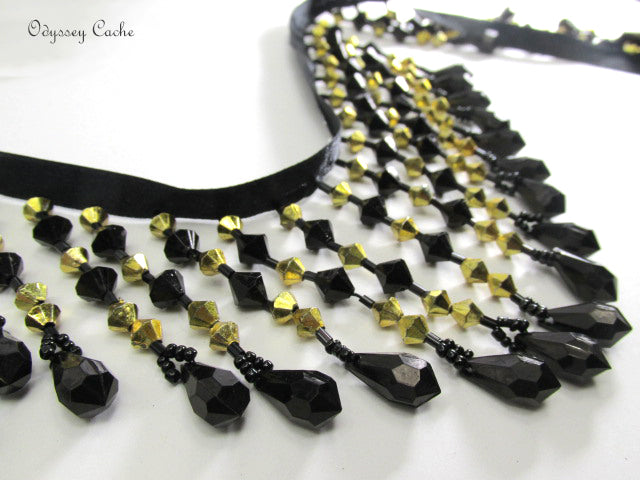 New York Nights Black and 6mm Gold bicones 3.25 inch Medium Beaded Fringe Trim-Beaded Fringe-1 Yard-Odyssey Cache