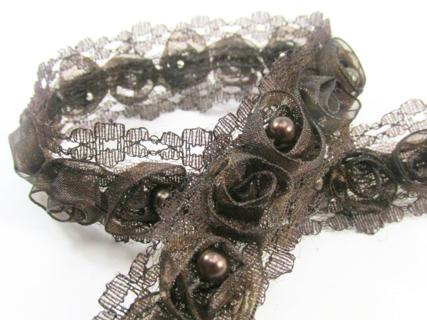 Chocolate Brown Organza Rosettes with Pearl Centers Lace Trim - Odyssey Cache