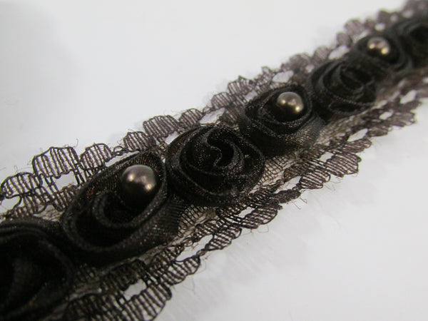 Chocolate Brown Organza Rosettes with Pearl Centers Lace Trim-Trims-Odyssey Cache