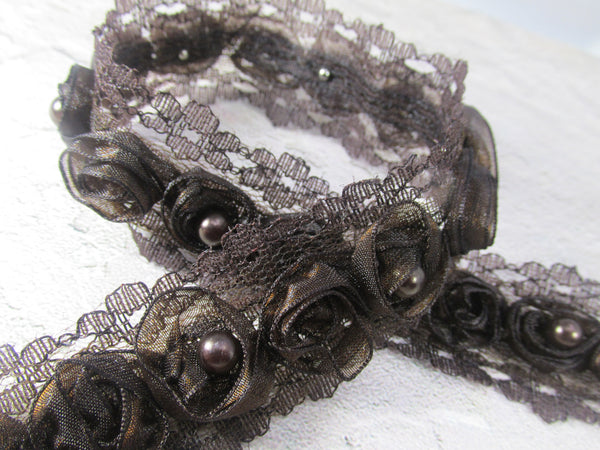 Chocolate Brown Organza Rosettes with Pearl Centers Lace Trim-Trims-Default Title-Odyssey Cache