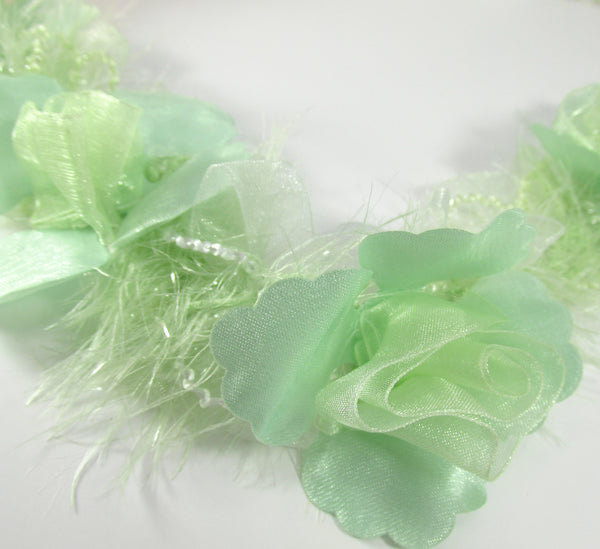 Mint Green Ruffled Rose Craft or Bridal Flower Trim - Odyssey Cache
