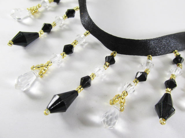 Classy Black, Clear and Gold 2 inch Alternating Beaded Fringe Costume or Decorator Trim - Odyssey Cache