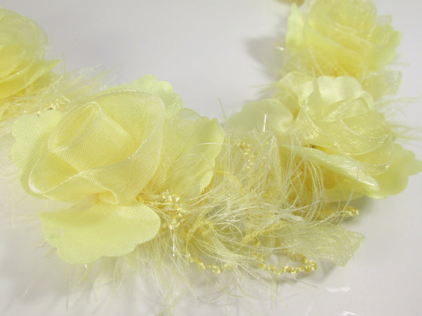 Pale Yellow Ruffled Rose Craft or Bridal Flower Trim-Trims-1 flower-Odyssey Cache