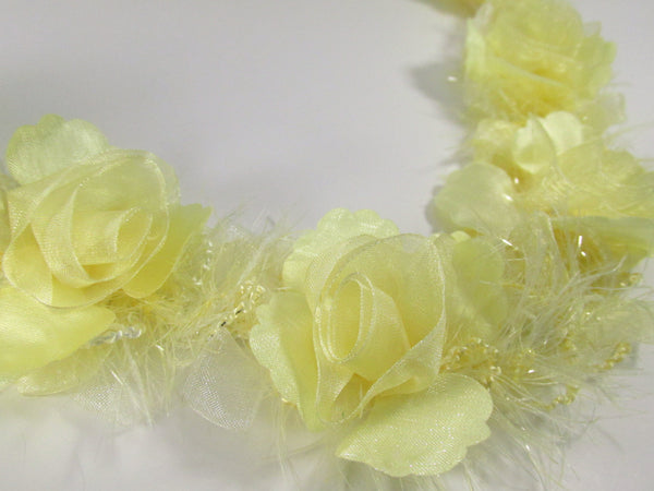 Pale Yellow Ruffled Rose Craft or Bridal Flower Trim - Odyssey Cache
