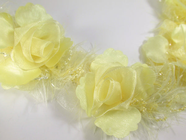 Pale Yellow Ruffled Rose Craft or Bridal Flower Trim-Trims-Odyssey Cache