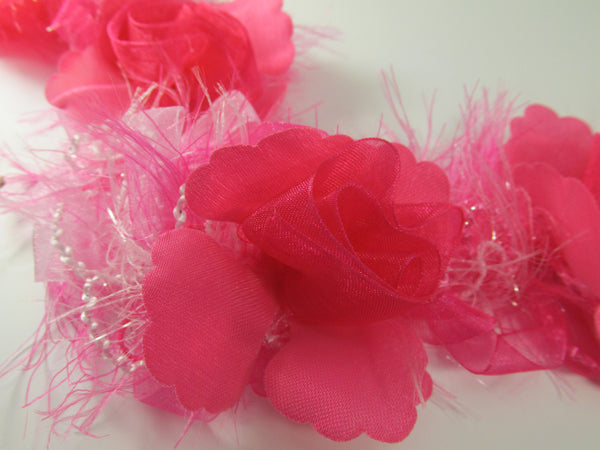 Fuchsia Hot Pink Ruffled Rose Craft or Bridal Flower Trim-Trims-Odyssey Cache