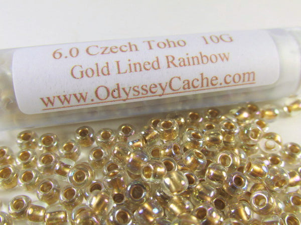 Crystal Gold Lined Rainbow 6/0 Toho Seed Beads (10 grams)-Jewelry Beads-Odyssey Cache