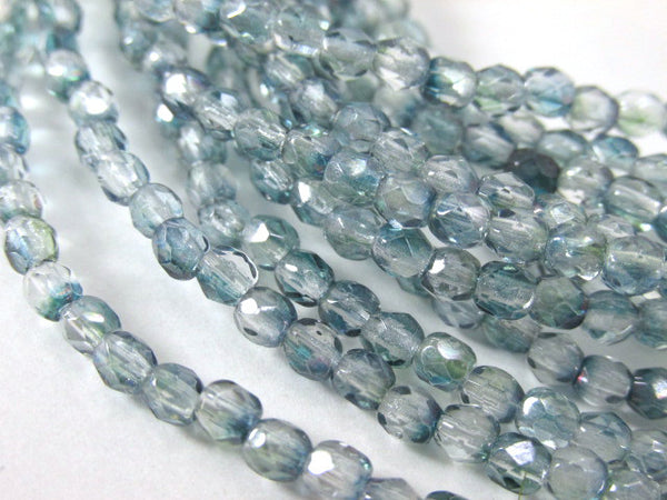 Denim Blue Green 3mm Czech Glass Fire Polished Jewelry Beads (50) - Odyssey Cache